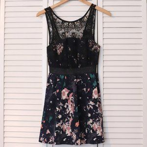 Kimchi Blue floral pattern dress, sheer lace top